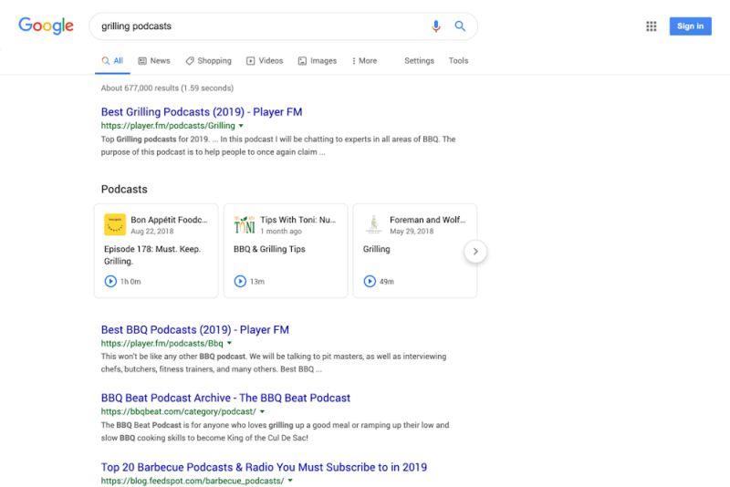 Рекламные подкасты Google в поисковой выдаче