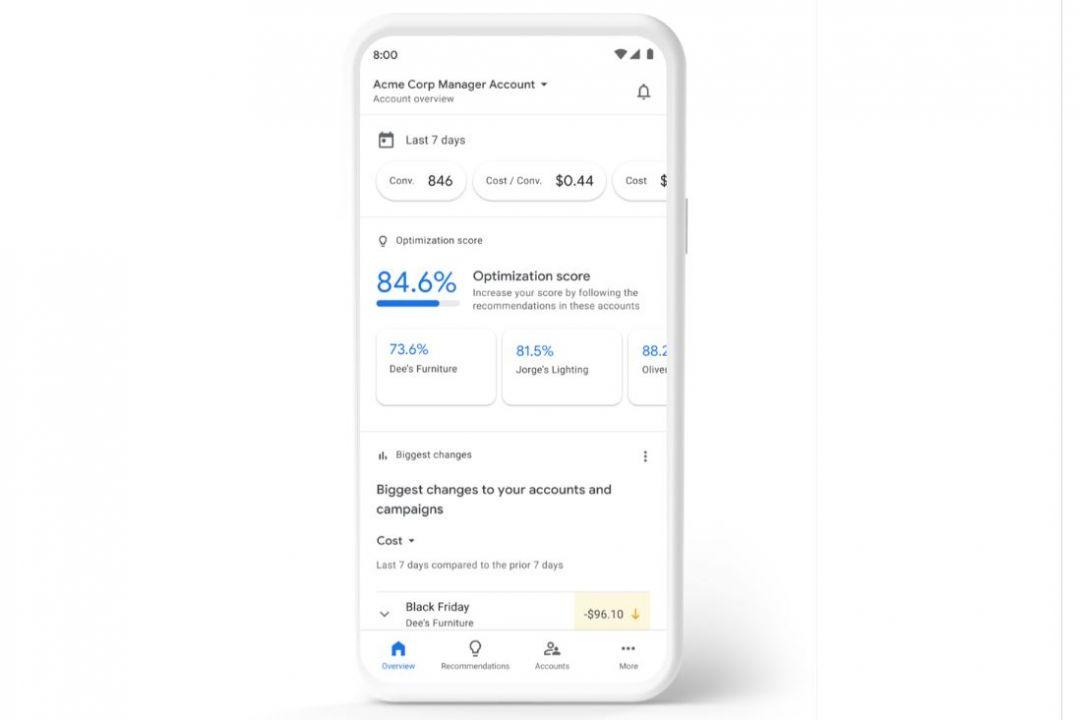 Управляющий аккаунт Google в мобильном приложении