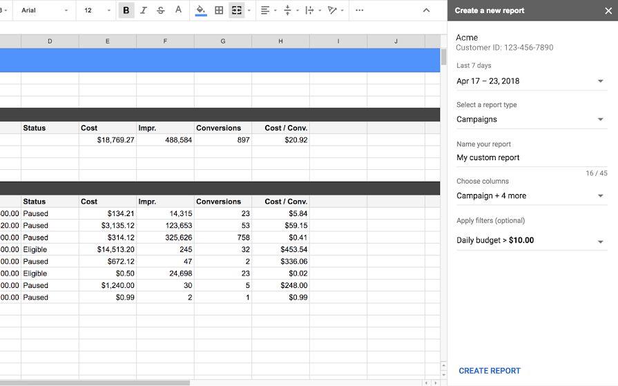 Google Реклама: импортируйте данные из кабинета в Google Таблицы
