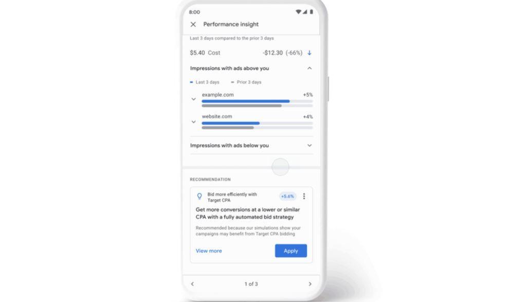 Уведомления об эффективности рекламных кампаний в приложении Google Ads