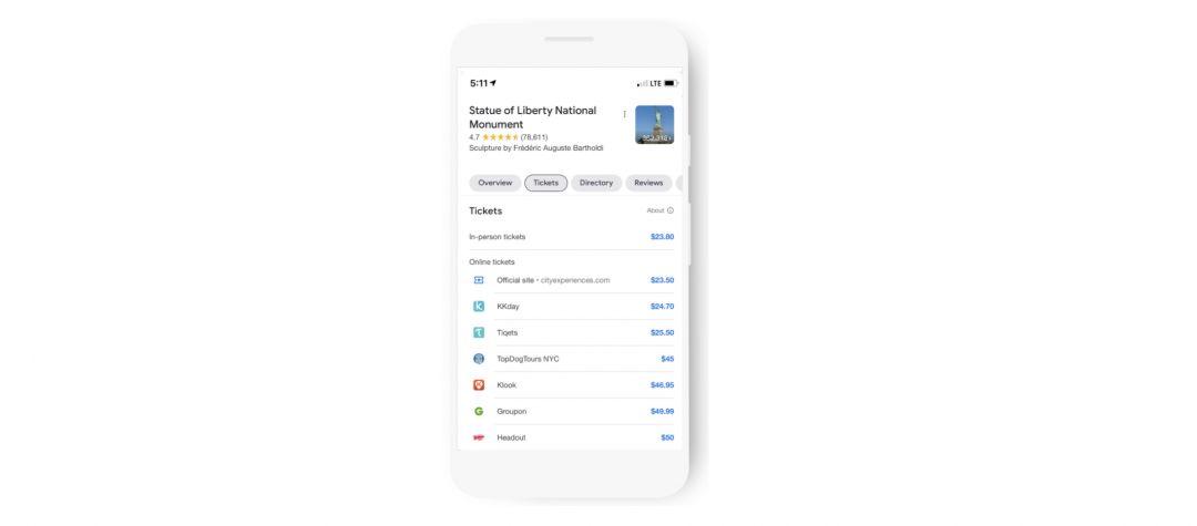 Google внедряет ссылки на бронирование билетов и объявления «Things to do»